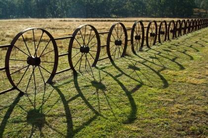 a wheel fence in Coonabarabran