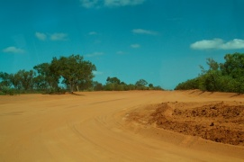 driving near Broome on sand road